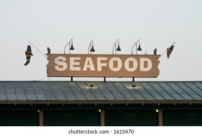 Seafood restaurant sign