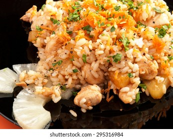 Seafood risotto - rice with shrimps and herbs