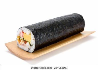 Seafood Rolled sushi and soy isolated on white background.