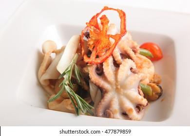 seafood salad and Octopus on plate