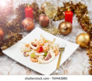 seafood salad on christmas table