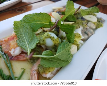 seafood salad with pepermint tradition of thai food