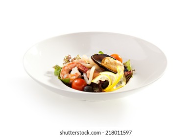 Seafood Salad with Shrimp, Mussel and Calamari Rings