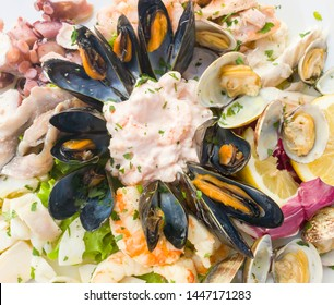 Seafood shells mussels as a cold appetizer