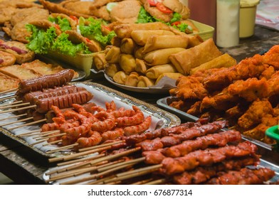 Seafood skewer and snack at night market