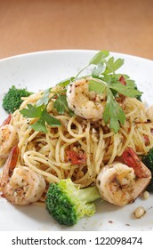 Seafood Spaghetti on White Plate