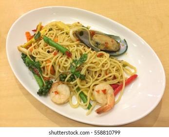 Seafood spicy spaghetti