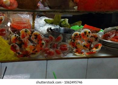 Seafood and sushi display  at the Ben Thanh market, Saigon (Ho Chi Minh City),  Vietnam
