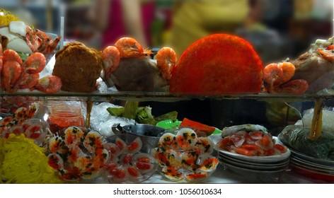 Seafood and sushi display  at the market, Saigon (Ho Chi Minh City),  Vietnam