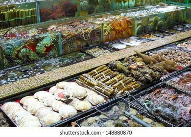Seafood tank at market in Hong Kong