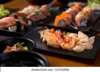 Seafood Teppanyaki - Japanses traditional seafood grilled