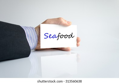 Seafood text concept isolated over white background