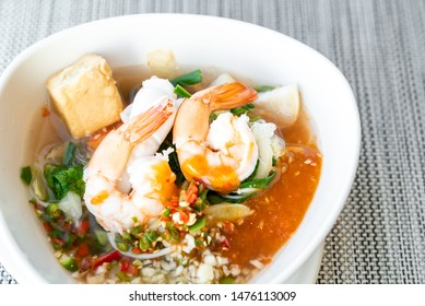 seafood Thai suki Sukiyaki - Stirred vermicelli in spicy soybean paste with prawn and fish