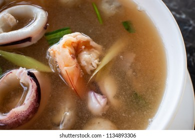 Seafood Tom Yum soup, clear water
