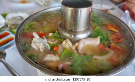 Seafood tomyum in hot pot