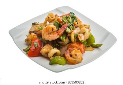 Seafood with vegetables - shrimps and calamari