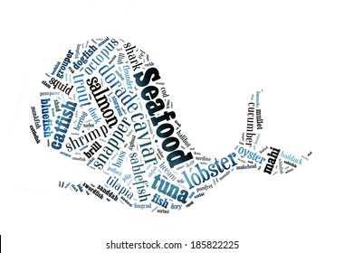 Seafood word cloud in shape of whale