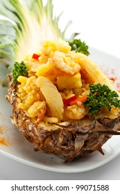 Seafoods with Rice and Pineapple