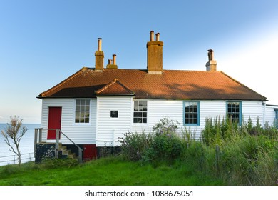 Seaford, East Sussex / United Kingdom: 09/08/2015: The Coastguard cottages at Cuckmere Haven.