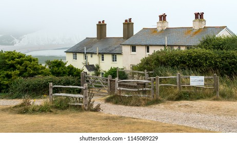 SEAFORD, SUSSEX/UK - JULY 23 : Old Coastguard Cottages at Seaford in Sussex on July 23, 2018
