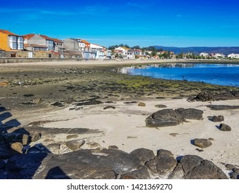 Seafront and beach of Saint Tome village in Cambados town, Galicia