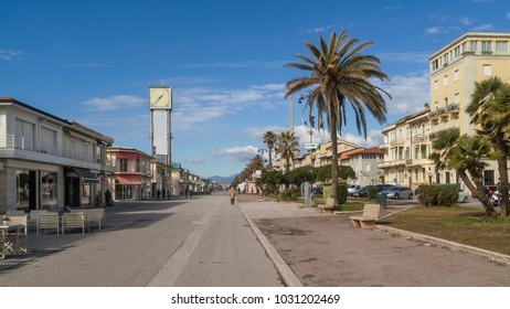 Seafront and clock tower in Viareggio, Lucca, Tuscany, Italy