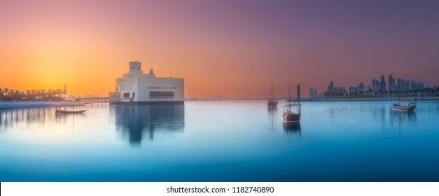 Seafront of Doha park and East Mound-Skyline view during sunset, Qatar. Clipping path of sky