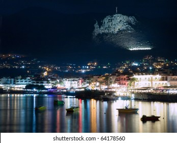 Seafront of Hersonissos in Crete, Greece at night