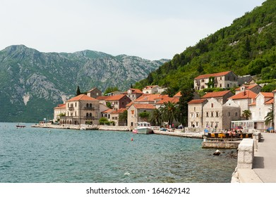 Sea-front in Perast. Kotor bay, Montenegro