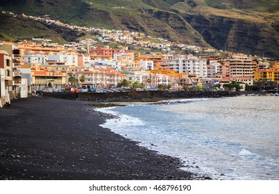 the seafront in a small town Candelaria with its black sand beach, Tenerife, Canary Islands, Spain