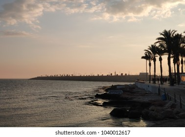 Seafront of Torrevieja at sunset. Costa Blanca. Spain