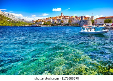 The seafront view at Korcula old town, historic island and travel european destination in Croatia