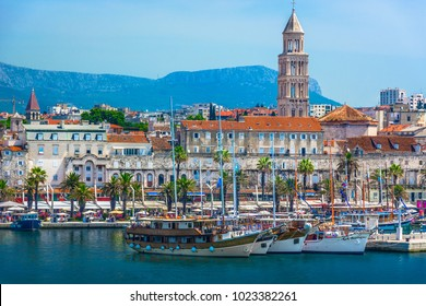 Seafront view at old city center in Split town, Diocletian Palace view from the Adriatic Sea, Croatia.