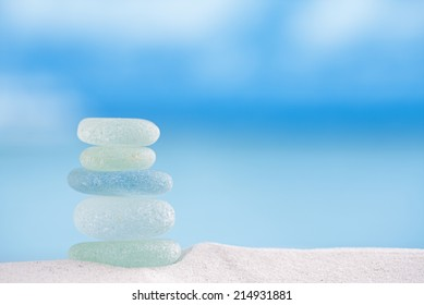 seaglass with ocean , white sandy beach and seascape, shallow dof