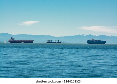 Seagoing vessels passing a harbor. Ship traffic to a port. Congestion of shipping