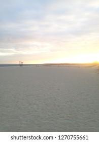 Seagull beach sunset