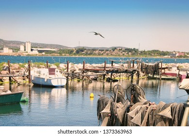 Seagull  and fishing nets in Fishermen's district (village) of Sete called La Pointe Courte