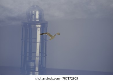 Seagull in lamp in double exposure