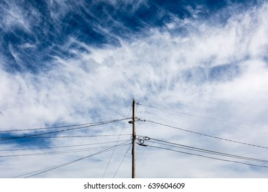 Seagull sitting on an utility pole in front of a dramatic sky