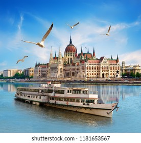 Seagulls over boat near Parliament on Danube river in Budapest