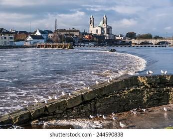 Seagulls over river in Athlone dam in background, ireland