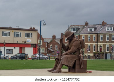 "Seaham, Tyne and Wear / England - April 17th 2018 : World war one scultpure at Seaham.  This statue is commonly known as ""Tommy""."