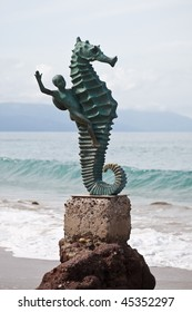 Seahorse sculpture  on Los Muertos beach, Puerto Vallarta, Mexico