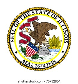 Seal of American state of Illinois; isolated on white background.