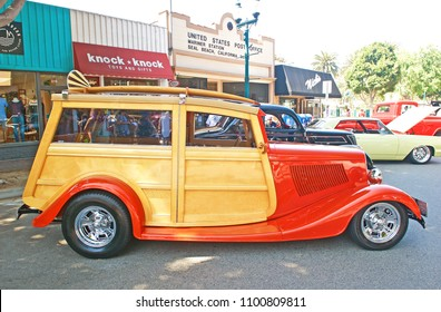 SEAL BEACH/CALIFORNIA - APRIL 28, 2018: Classic woody wagon parked along the road at a gathering of classic car enthusiasts in Seal Beach, California USA