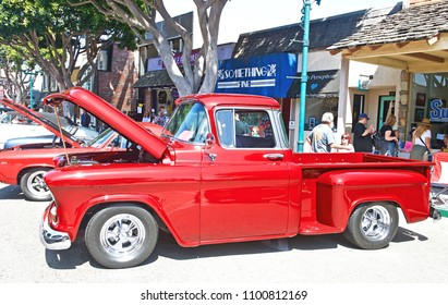 SEAL BEACH/CALIFORNIA - APRIL 28, 2018: Classic Ford pick up truck parked along the road at a gathering of classic car enthusiasts in Seal Beach, California USA