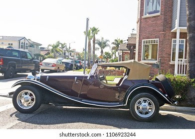 SEAL BEACH/CALIFORNIA - APRIL 28, 2018: Replica of a 1930's Jaguar parked along a road the in Seal Beach, California USA