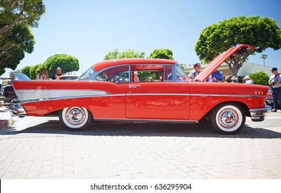 SEAL BEACH/CALIFORNIA - APRIL 29, 2017: Classic 1957 Chevy parked in the Old Town District of Seal Beach. California USA