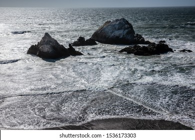 Seal Rocks on hard wind and wave of Pacific ocean near Sutro Baths and Land ends of San Francisco, California, USA.