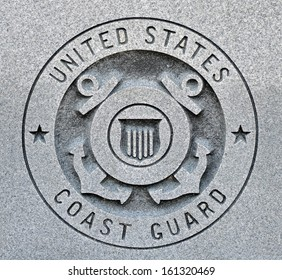 The seal of the United States Coast Guard engraved into granite